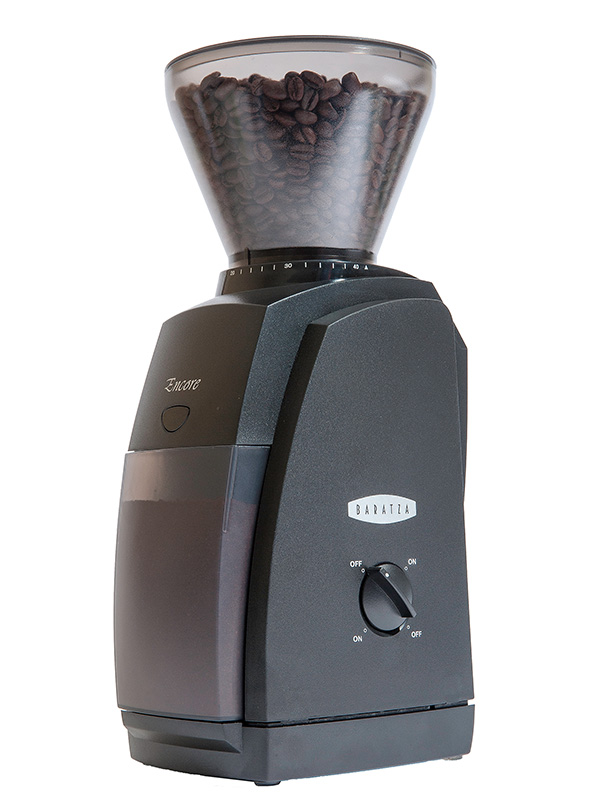Photo of a black Baratza Encore coffee grinder